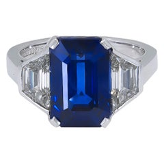 6.40ct Royal-Blue No Heat Sapphire & Diamond and 18k White Gold Ring by Bulgari