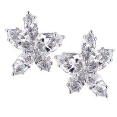 6.41 Carat Diamond Cluster Earrings