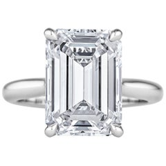 6.41 Carat Emerald Cut Diamond Platinum Engagement Ring