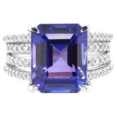 6.41 Carat Natural Octagon-Cut Tanzanite and Diamond Ring Set in Platinum