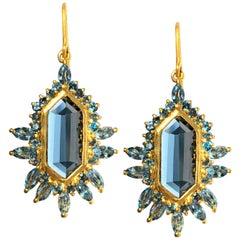 6.42 Carat Aquamarine London Blue Topaz Gold Geometric Earrings by Lauren Harper