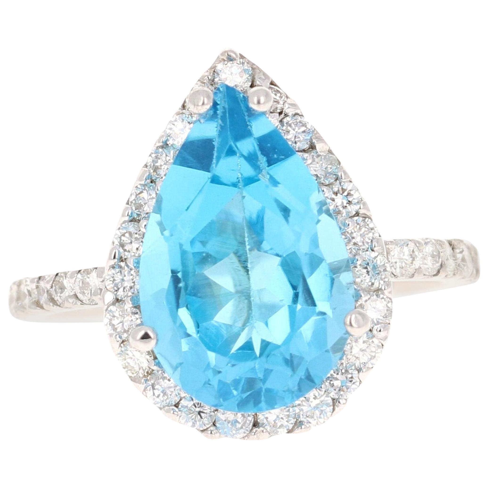 6.42 Carat Blue Topaz Diamond 14 Karat White Gold Cocktail Ring