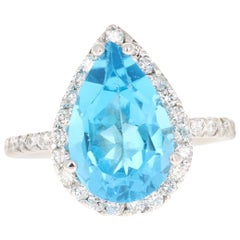 6.42 Carat Blue Topaz Diamond 14 Karat White Gold Cocktail Ring