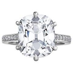 6.42 Carat Cushion Brilliant Cut Platinum Engagement Ring