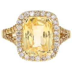 6.42 Carat GIA Certified Yellow Sapphire and Diamond 18 Karat Yellow Gold Ring