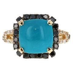 6.42 Carat Turquoise Black Diamond 14 Karat Yellow Gold Ring