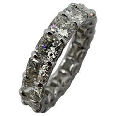 6.43 Carat Cushion Cut Eternity Band Ring