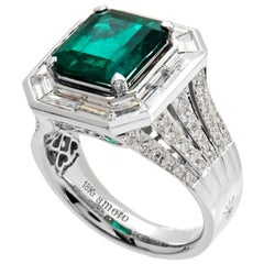 6.43 Carat Emerald Cut Colombian Emerald and Diamond Ring in 18 Karat White Gold