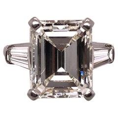 6.43 Carat Emerald Cut Diamond Engagement Ring VS1 J/K Color, Platinum Setting