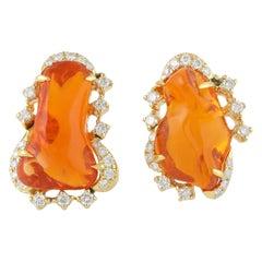 6.43 Carat Fire Opal 18 Karat Gold Diamond Stud Earrings