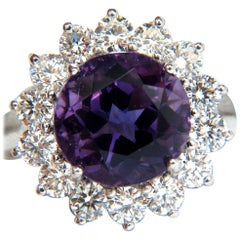 6.43 Carat Natural Brilliant Round Bright Purple Amethyst Diamond Ring 14 Karat