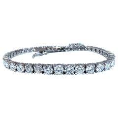 6.43 Carat Natural Diamonds Tennis Bracelet 14kt Gold Classic Graduated Caliber