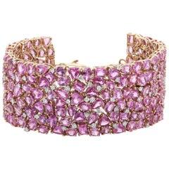 64.33 Carat Pink Sapphire Diamond 18 Karat White Gold Link Bracelet