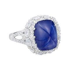 6.44 Carat Blue Sapphire Sugar Loaf and Diamond Ring