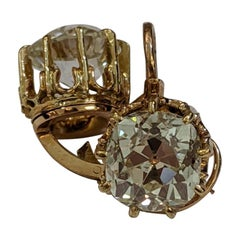 6.44 Carat Old Mine Cut Diamond Earrings