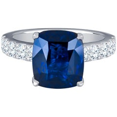 6.44Carat Vivid Blue Ceylon Cushion Sapphire (GRS certified) 18k Diamond Ring