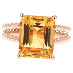 6.45 Carat Emerald Cut Citrine Quartz Rose Gold Cocktail Ring