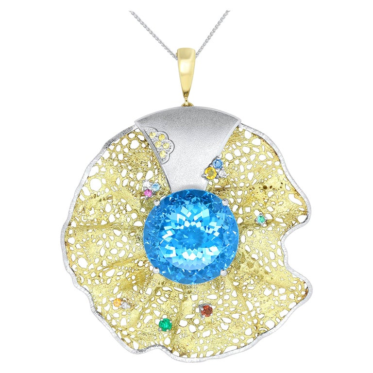 64.55 Carat Blue Topaz, Multi-Color Gemstone and Diamond Pendant or Brooch For Sale