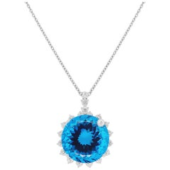 64.55 Ct Round Blue Topaz White Sapphire Diamond Halo Pendant 14K White Gold