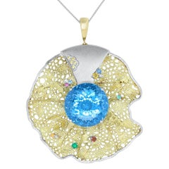 64.55 Carat Blue Topaz, Multi-Color Gemstone and Diamond Pendant or Brooch
