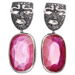 AENEA 64.6ct. Enhanced Ruby Black Diamonds White Gold Sterling Silver Earrings