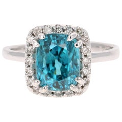 6.46 Carat Blue Zircon Diamond 14 Karat White Gold Cocktail Ring