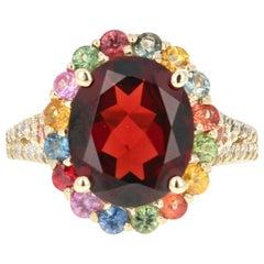 6.46 Carat Garnet Sapphire Diamond 14 Karat Yellow Gold Ring