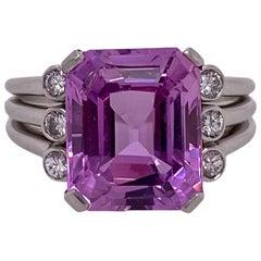 6.46 Carat Pink Ceylon Emerald Cut Sapphire Diamond Platinum Ring AGL Untreated