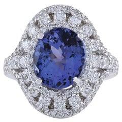 6.46 Carat Tanzanite 18 Karat White Gold Diamond Ring