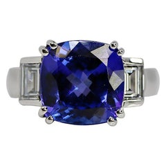 6.47 Carat Cushion Tanzanite and Diamond Ring