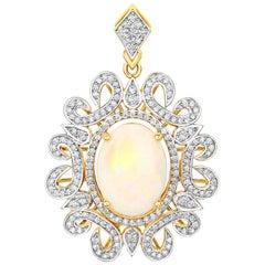6.47 Carat Ethiopian Opal and White Diamond 14 Karat Yellow Gold Pendant