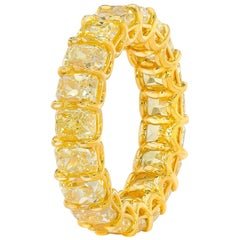 6.47 Carat Fancy Yellow Cushion Cut Diamond Eternity Band Ring