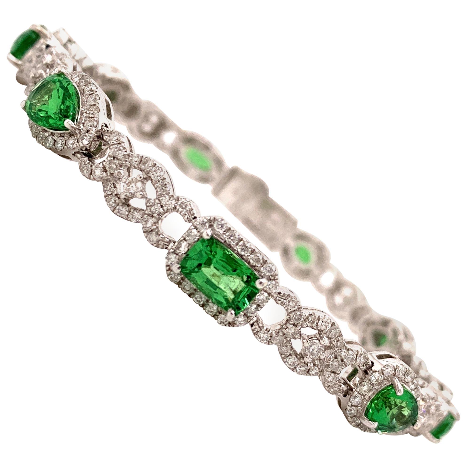6.47 Carat Green Garnet Diamond Bangle Bracelet