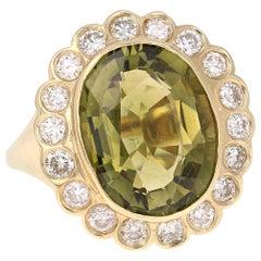 6.47 Carat Tourmaline Diamond Yellow Gold Cocktail Ring