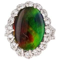 6.48 Carat Amolite Diamond 14 Karat Cocktail Ring