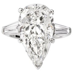 6.48 Carat E-VVS2 GIA Pear Diamond Platinum Classic Engagement Ring