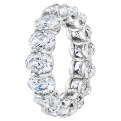 6.48 Carat GIA Certified Oval Diamond Eternity Band Ring