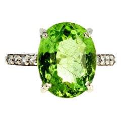 6.48 Carat Green Tourmaline and Diamond Ring