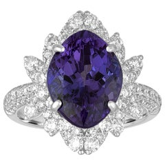 6.48 Carat Marquise Tanzanite Diamond Gold Cocktail Ring