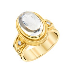 6.48 Carat Moonstone and Diamond Yellow Gold Engraved Bezel Dome Band Ring