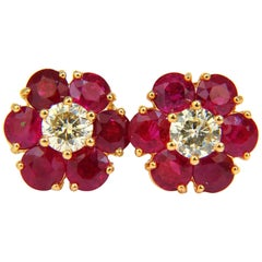 6.48 Carat Natural Fine Gem Ruby Diamond Cluster Earrings 14 Karat Vivid Red
