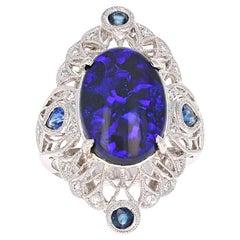 6.48 Carat Opal Diamond Art Deco Style Platinum Cocktail Ring
