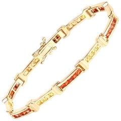 6.48 Carat Orange Sapphire and Yellow Sapphire .925 Sterling Silver Bracelet