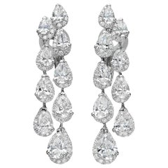 6.48 Carat Pear-Cut Diamond Drop 18 Karat White Gold Chandelier Earrings