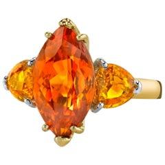 6.48 ct. Spessartite Garnet, Yellow Sapphire, 18k Yellow/White Gold 3-Stone Ring