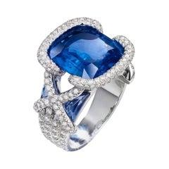 6.48 Carat Tanzanite Diamond Ring 18 Karat White Gold