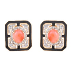 6.49 Carat Coral Diamond and Black Enamel 18 Karat Yellow Gold Stud Earrings