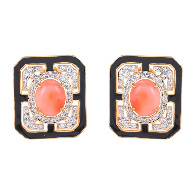 6.49 Carat Coral Diamond and Black Enamel 18 Karat Yellow Gold Stud Earrings For Sale