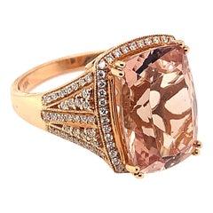 6.49 Carat Cushion Shaped Morganite Ring in 18 Karat Rose Gold with Diamonds