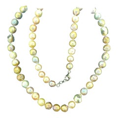 649.50 Carat Freshwater Pearl Necklace Oxidized Sterling Silver with Diamonds
